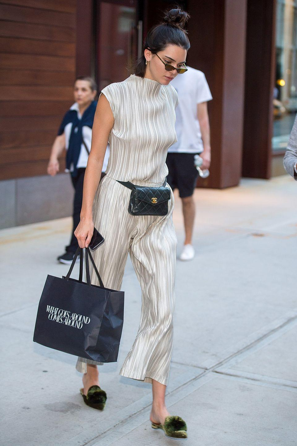 <p>It was a cream and black kind of day for Kendall in New York</p>