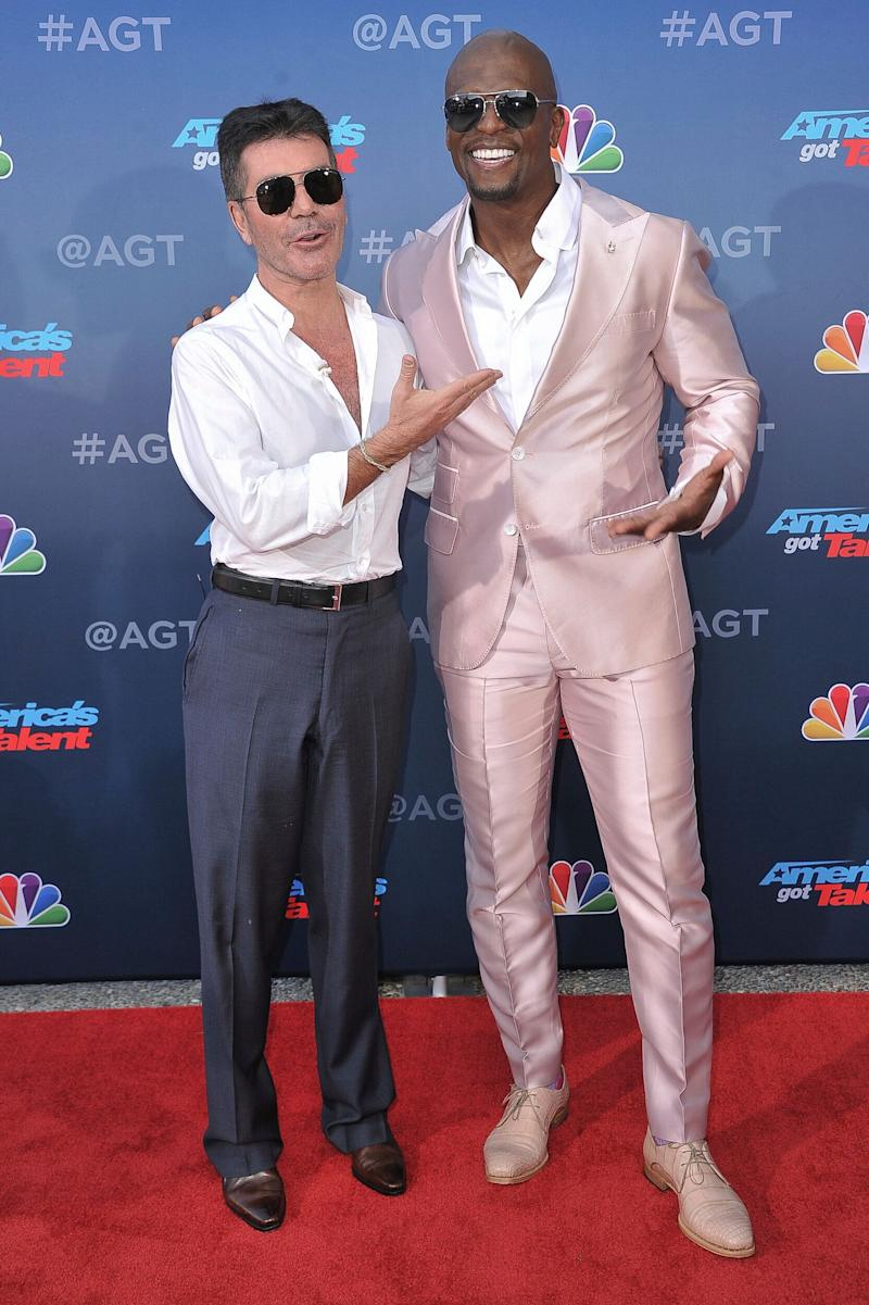 Simon Cowell and America's Got Talent host Terry Crews pictured at the show's press launch in March (Photo: Richard Shotwell/Invision/AP)