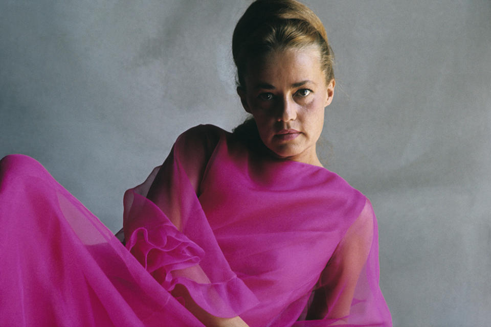 Jeanne Moreau wearing a chiffon gown for 'Vogue,' 1965