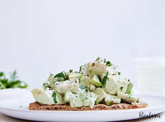 """<h2>22. Avocado Chicken Salad</h2> <p>It's anything but a Waldorf.</p> <p><a class=""""link rapid-noclick-resp"""" href=""""https://www.purewow.com/recipes/Avocado-Chicken-Salad"""" rel=""""nofollow noopener"""" target=""""_blank"""" data-ylk=""""slk:Get the recipe"""">Get the recipe</a></p>"""