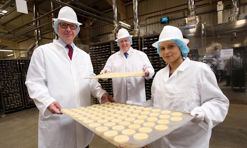 Michael Gove, Boris Johnson and Priti Patel during a visit to Farmhouse Biscuits in Nelson, Lancashire, during the Vote Leave campaign.