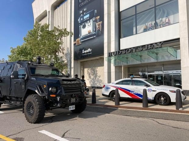 Toronto police's emergency task force is investigating a shooting at Yorkdale Mall that occurred just before 4 p.m. on Sunday afternoon. (Mark Bochsler/CBC - image credit)