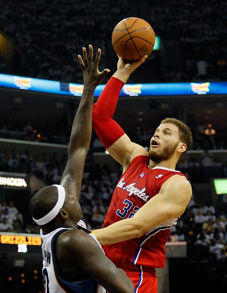 MEMPHIS, TN - MAY 13:  Blake Griffin #32 of the Los Angeles Clippers shoots over Zach Randolph #50 of the Memphis Grizzlies in Game Seven of the Western Conference Quarterfinals in the 2012 NBA Playoffs at FedExForum on May 13, 2012 in Memphis, Tennessee.  NOTE TO USER: User expressly acknowledges and agrees that, by downloading and or using this photograph, User is consenting to the terms and conditions of the Getty Images License Agreement  (Photo by Kevin C. Cox/Getty Images)