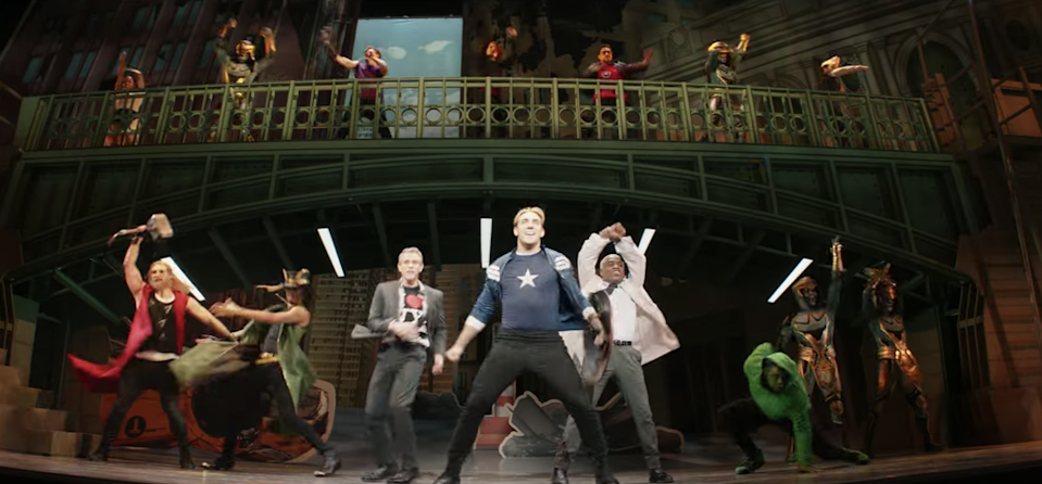 The trailer includes a shot of the very meta Broadway show, featuring versions of additional Marvel characters including Thor and Loki (left) (YouTube/Marvel Entertainment)
