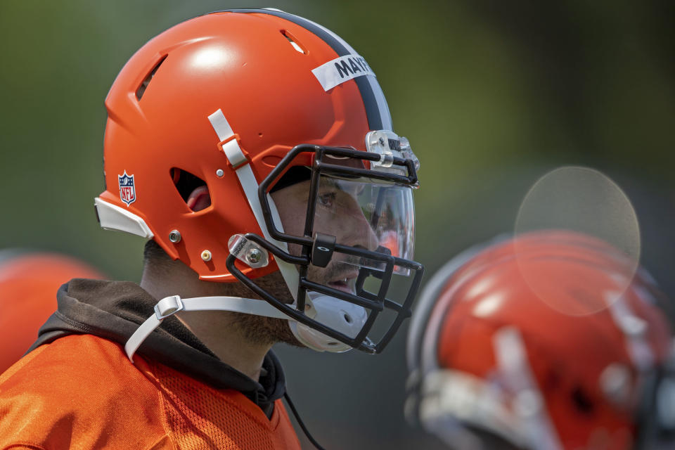 Cleveland Browns quarterback Baker Mayfield (6) watches in-between reps during NFL football practice in Berea, Ohio, Wednesday, July 28, 2021. (AP Photo/David Dermer)