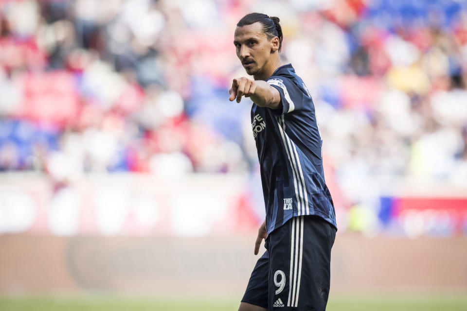 HARRISON, NJ - MAY 04: Zlatan Ibrahimovic #9 of LA Galaxy points during the MLS match between LA Galaxy and New York Red Bulls at Red Bull Arena on May 04 2019 in Harrison, NJ, USA. The Red Bulls won the match with a score of 3 to 2. (Photo by Ira L. Black/Corbis via Getty Images)