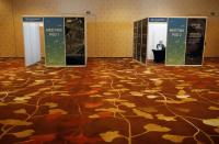 A view of meeting pods fitted with plexiglass made available to attendees at Geo Connect Asia trade conference in Singapore