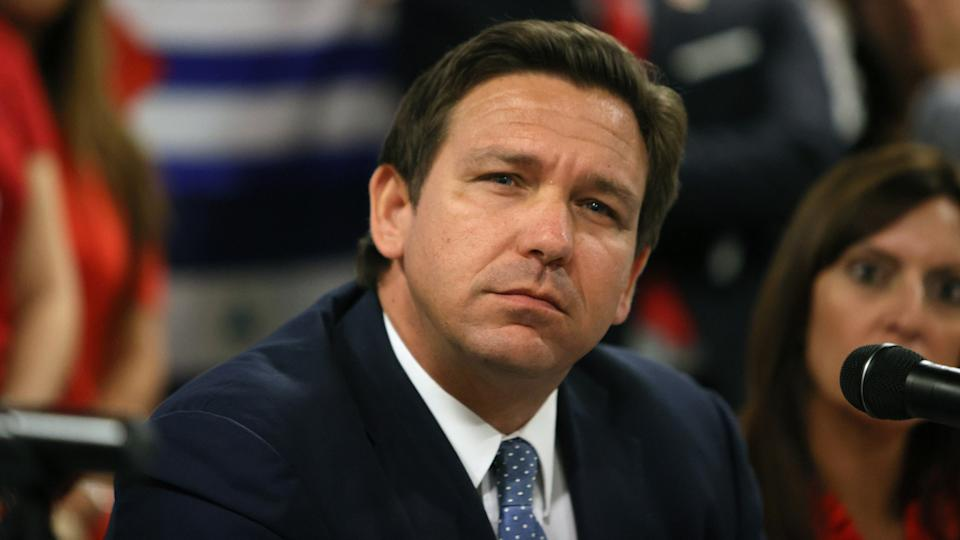 Gov. Ron DeSantis of Florida, in Miami in July, at a roundtable discussion on the uprising in Cuba.