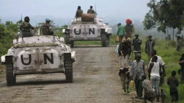 United Nations peacekeepers in the Democratic Republic of Congo in 2013. Ethnic tensions in the country date back to colonial rule by Belgium.