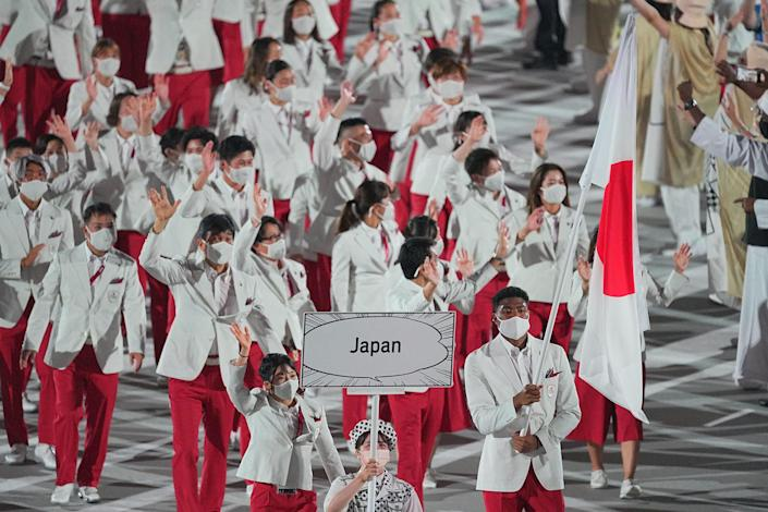 Japan enters the stadium during the Parade of Nations