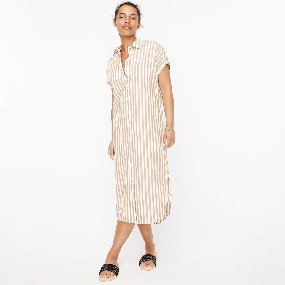<p>A classic J.Crew style gets a summery upgrade with this <span>Cotton Poplin Shirtdress</span> ($90, originally $128 (plus extra 60% off with code SALETIME). Whether you wear it over a bathing suit or on its own to roam the city, you'll find that it's just the perfect warm-weather dress, thanks to the short sleeves and loose fit.</p>