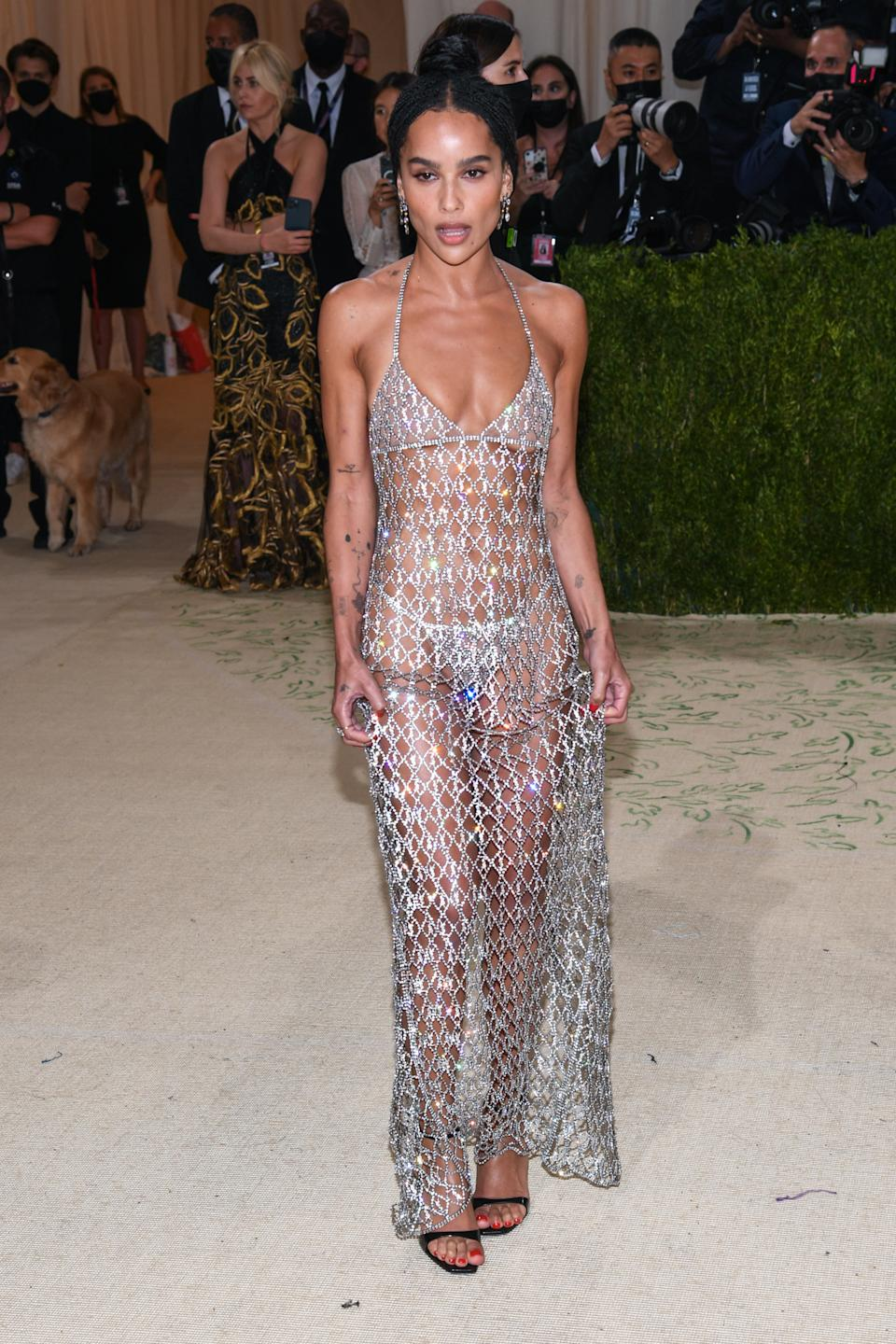 Zo� Kravitz walking on the red carpet at the 2021 Metropolitan Museum of Art Costume Institute Gala celebrating the opening of the exhibition titled In America: A Lexicon of Fashion held at the Metropolitan Museum of Art in New York, NY on September 13, 2021. (Photo by Anthony Behar/Sipa USA)