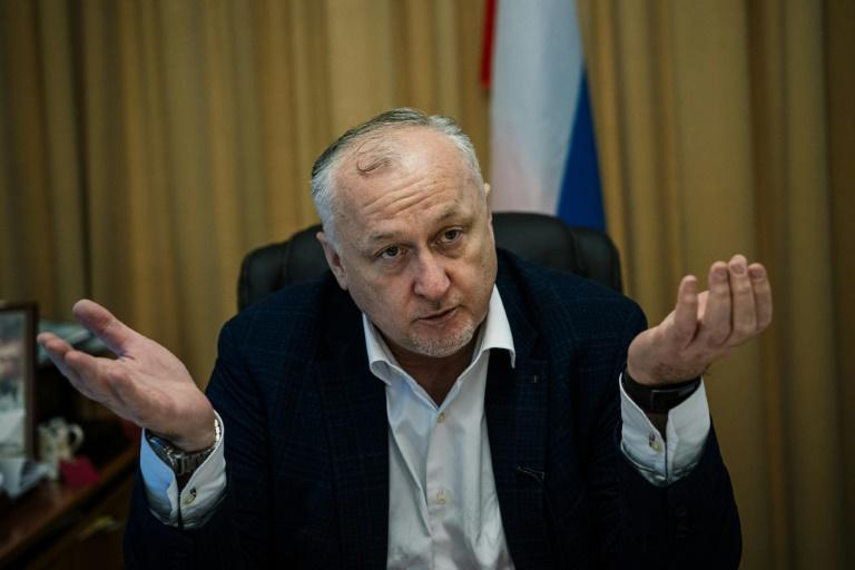 Russia's anti-doping agency (RUSADA) director general Yury Ganus gestures during an interview with AFP in Moscow on October 22, 2019
