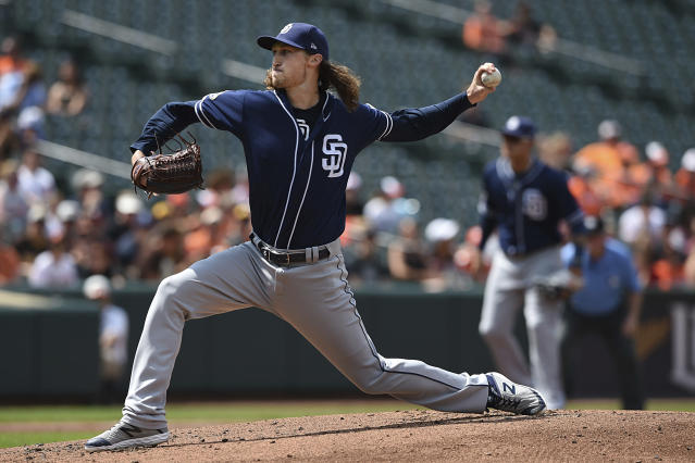 San Diego Padres pitcher Matt Strahm throws against the Baltimore Orioles in the first inning of a baseball game Wednesday, June 26, 2019, in Baltimore. (AP Photo/Gail Burton)
