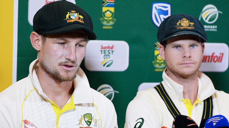 Cameron Bancroft (pictured left) speaking to the media and then captain Steve Smith (pictured right) looking dejected.