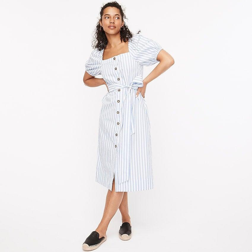 """<br><br><strong>J.Crew</strong> Cottage dress in stripe, $, available at <a href=""""https://go.skimresources.com/?id=30283X879131&url=https%3A%2F%2Fwww.jcrew.com%2Fp%2Fwomens%2Fcategories%2Fclothing%2Fdresses-and-jumpsuits%2Fcottage-dress-in-stripe%2FAZ810%3Fdisplay%3Dsale%26fit%3DClassic%26isFromSale%3Dtrue%26color_name%3Dwhite-seascape%26colorProductCode%3DAZ810"""" rel=""""nofollow noopener"""" target=""""_blank"""" data-ylk=""""slk:J.Crew"""" class=""""link rapid-noclick-resp"""">J.Crew</a>"""