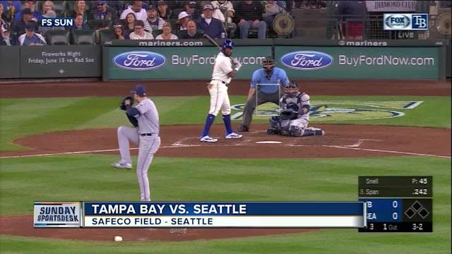 Tampa Bay's young starter, Blake Snell, dominated early, even setting an American League record with seven straight strikeouts to start the game. It wasn't enough as veteran star Felix Hernandez outlasted him with a vintage performance. The Seattle Mariners offense eked out a couple runs in the eighth inning, just enough for the 2-1 win and series sweep against Tampa Bay on Sunday. Snell, who was born in Seattle and pitched for nearby Shorewood High School, struck out 12 -- including the first seven batters he faced to tie an American League record. He didn't give up a run in six inning, but he couldn't outlast Hernandez.