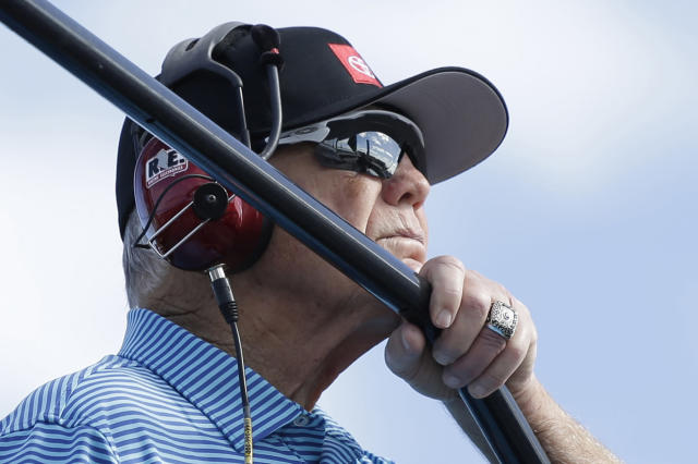 Team owner Joe Gibbs watches practice for a NASCAR Cup Series auto race on Saturday, Nov. 16, 2019, at Homestead-Miami Speedway in Homestead, Fla. Gibbs, soon to turn 79, won three Super Bowls coaching the Washington Redskins and can win his fifth NASCAR Cup Series championship if Martin Truex Jr., Kyle Busch or Denny Hamlin have the best finish. (AP Photo/Terry Renna)