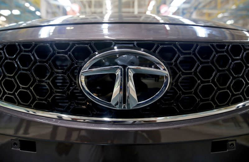 A Tata Tigor car is pictured at the assembly line inside the Tata Motors car plant in Sanand, on the outskirts of Ahmedabad