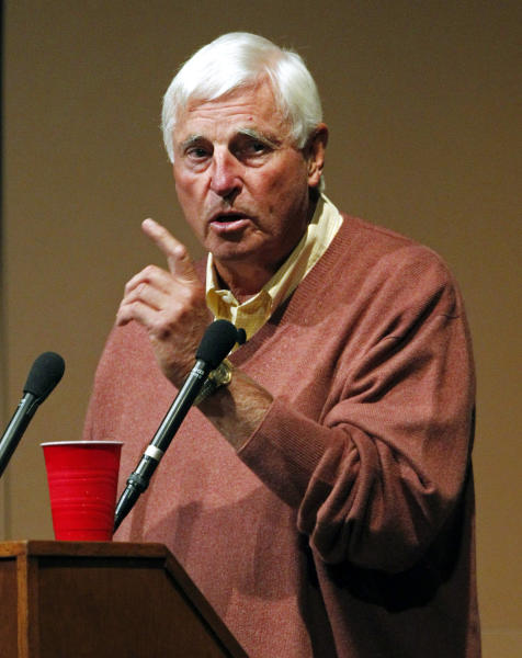 """FILE - This Sept. 14, 2011 file photo shows Bob Knight during a speech at Butler University in Indianapolis. Knight is selling his NCAA championship rings and other mementos to fund education in his family. """"I have two grandsons,"""" the Hall of Fame basketball coach said, """"and my wife has a niece and nephew, who would get good use out of this."""" (AP Photo/Michael Conroy, File)"""