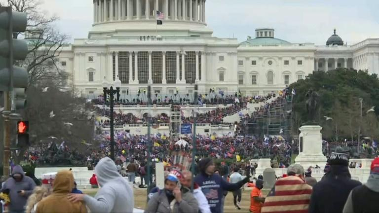 Pro-Trump supporters storm stairs of US Capitol