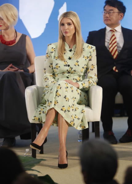Ivanka Trump, the daughter and assistant to President Donald Trump, listens to Secretary of State Mike Pompeo speak during an event to announce the 2018 Trafficking in Persons Report (TIP) ceremony at the US State Department in Washington, Thursday, June 28, 2018. (AP Photo/Pablo Martinez Monsivais)