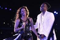 <p>The couple left the stage hand in hand after performing at the Stade de France.</p>