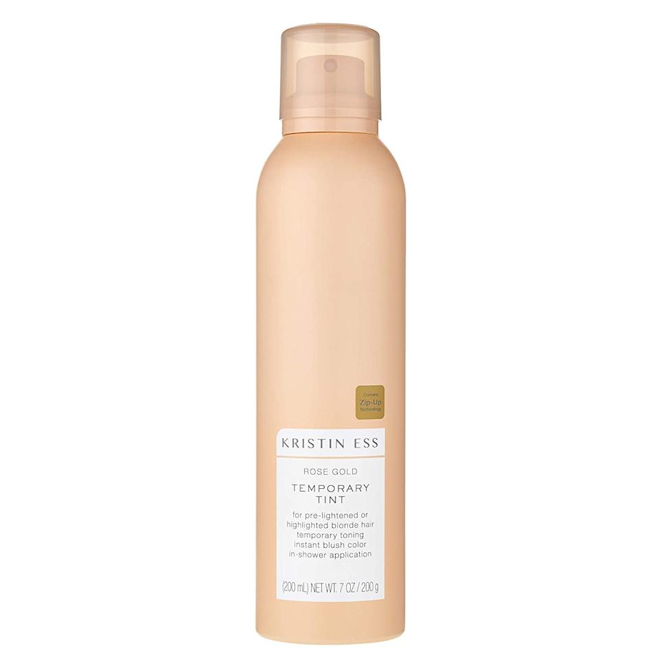 """<h3>Kristin Ess Rose Gold Temporary Tint<br></h3><br>This rose-gold mist (which you can readily find at Target) is chic enough to upgrade your hair year-round. <br><br><strong>Kristin Ess</strong> Kristin Ess Rose Gold Temporary Tint, $, available at <a href=""""https://go.skimresources.com/?id=30283X879131&url=https%3A%2F%2Fwww.target.com%2Fp%2Fkristin-ess-rose-gold-temporary-tint-7oz%2F-%2FA-52567714%3Fref%3Dtgt_adv_XS000000%26AFID%3Dgoogle_pla_df_free_online%26CPNG%3DBeauty%26adgroup%3D63-0"""" rel=""""nofollow noopener"""" target=""""_blank"""" data-ylk=""""slk:Target"""" class=""""link rapid-noclick-resp"""">Target</a>"""