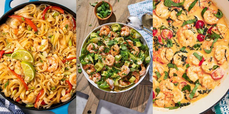 """<p>We have a prawn recipe for every occasion. We absolutely LOVE <a href=""""https://www.delish.com/uk/cooking/recipes/a29664285/easy-lemon-garlic-shrimp-recipe/"""" rel=""""nofollow noopener"""" target=""""_blank"""" data-ylk=""""slk:prawns"""" class=""""link rapid-noclick-resp"""">prawns</a> because you can do just about do anything with them! They're a super versatile and delicious ingredient in most things, whether you're after a simple <a href=""""https://www.delish.com/uk/cooking/recipes/a29205296/coconut-shrimp-curry-recipe/"""" rel=""""nofollow noopener"""" target=""""_blank"""" data-ylk=""""slk:prawn curry"""" class=""""link rapid-noclick-resp"""">prawn curry</a> or <a href=""""https://www.delish.com/uk/cooking/recipes/a35064798/best-grilled-shrimp-recipe/"""" rel=""""nofollow noopener"""" target=""""_blank"""" data-ylk=""""slk:prawns on the BBQ"""" class=""""link rapid-noclick-resp"""">prawns on the BBQ</a>. </p><p>Whether it's a fancy <a href=""""https://www.delish.com/uk/cooking/recipes/a32204917/best-garlic-butter-shrimp-pasta-recipe/"""" rel=""""nofollow noopener"""" target=""""_blank"""" data-ylk=""""slk:Prawn Pasta"""" class=""""link rapid-noclick-resp"""">Prawn Pasta</a> dish you're craving, a fresh <a href=""""https://www.delish.com/uk/cooking/recipes/a31952820/prawn-salad/"""" rel=""""nofollow noopener"""" target=""""_blank"""" data-ylk=""""slk:Prawn and Avocado Salad"""" class=""""link rapid-noclick-resp"""">Prawn and Avocado Salad</a>, or some <a href=""""https://www.delish.com/uk/cooking/recipes/a30380256/shrimp-taco-warm-corn-salsa-recipe/"""" rel=""""nofollow noopener"""" target=""""_blank"""" data-ylk=""""slk:Prawn Tacos"""" class=""""link rapid-noclick-resp"""">Prawn Tacos</a>, there are so many different recipes for you to choose from. </p>"""
