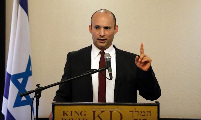 "Israeli Education Minister Naftali Bennett of the hardline Jewish Home party said ""Palestine will be taken off the agenda"" once Donald Trump took office (AFP Photo/THOMAS COEX)"