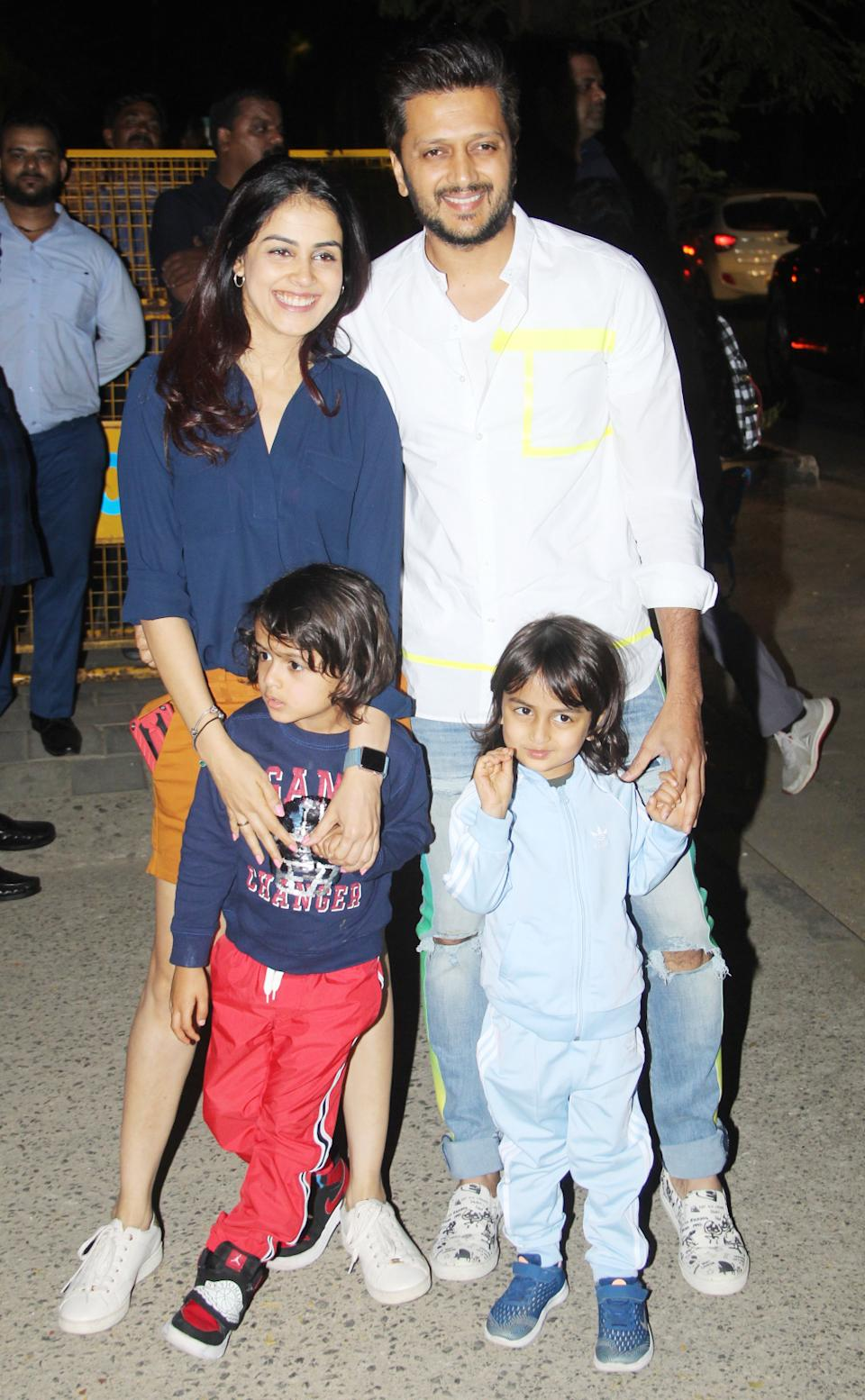 Riteish Deshmukh and Genelia D'Souza with their childen.