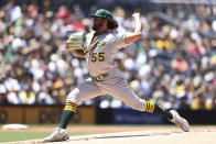 Oakland Athletics starting pitcher Sean Manaea delivers a pitch to a San Diego Padres batter in the first inning of a baseball game Wednesday, July 28, 2021, in San Diego. (AP Photo/Derrick Tuskan)