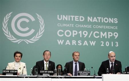 Christiana Figueres, Ban Ki-moon, Donald Tusk listen to Marcin Korolec during COP19 in Warsaw
