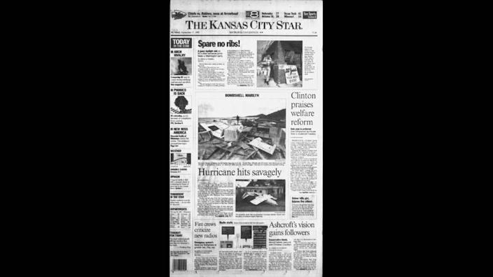 The front page of The Kansas City Star on Sept. 17, 1995, the day that superstar Chiefs quarterback Patrick Mahomes was born.