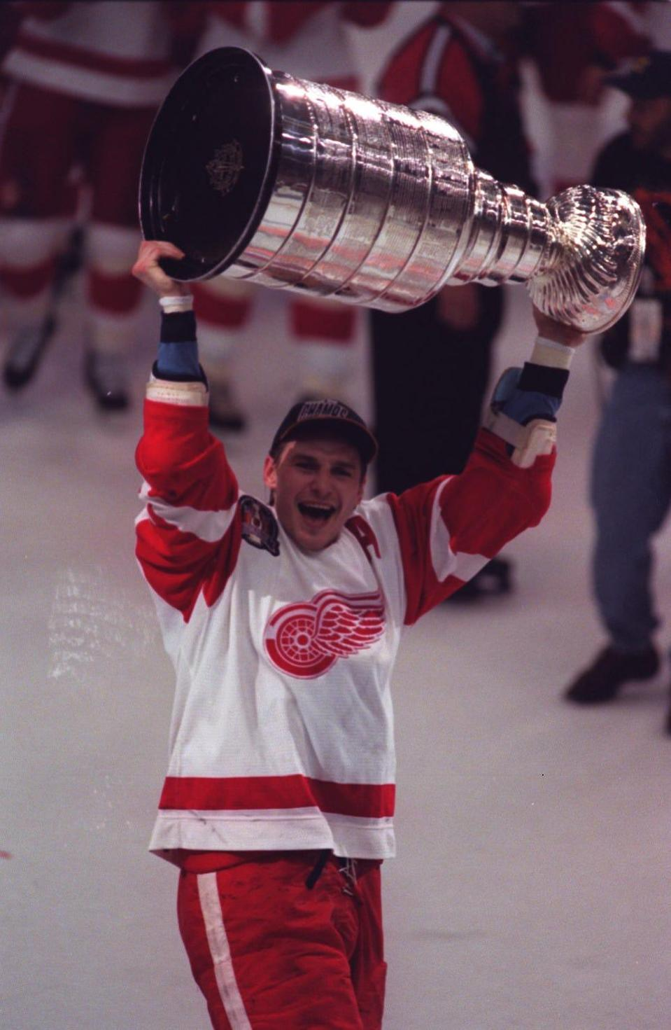 Red Wings forward Sergei Fedorov celebrated with the Stanley Cup on June 7, 1997 at the Joe Louis Arena.