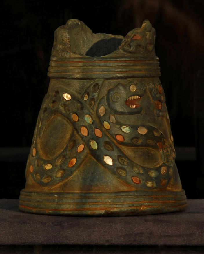 In this picture taken on Tuesday, April 2, 2013 a carved stone Vessel found in the Ur area from the early 3rd millennium B.C. is displayed at the Iraqi National Museum in Baghdad, Iraq. Ten years after Iraq's national museum was looted and smashed by frenzied thieves during the U.S.-led invasion in 2003 to topple Saddam Hussein, it's still far from ready for a public re-opening. Work to overcome decades of neglect and the destruction of war has been hindered by power struggles, poorly-skilled staff and the persistent violence plaguing the country, said Bahaa Mayah, Iraq's most senior antiquities official.(AP Photo/Hadi Mizban)