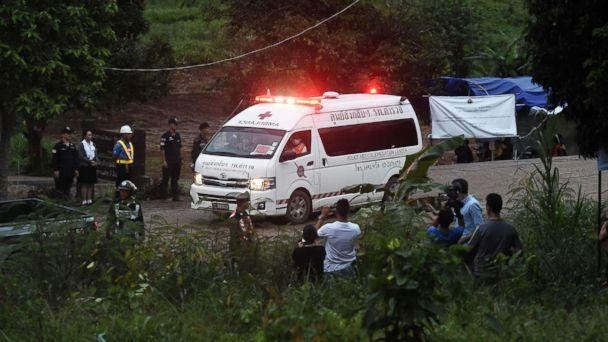 PHOTO: An ambulance leaves the Tham Luang cave area after divers evacuated some of the 12 boys and their coach trapped at the cave in Khun Nam Nang Non Forest Park in the Mae Sai district of Chiang Rai province on July 8, 2018 in Thailand. (Lillian Suwanrumpha/AFP/Getty Images)