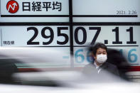 A man wearing a protective mask stands in front of an electronic stock board showing Japan's Nikkei 225 index at a securities firm Friday, Feb. 26, 2021, in Tokyo. Asian shares skidded Friday after rising bond yields triggered a broad sell-off on Wall Street that erased the markets gain for the week and handed the Nasdaq composite index its steepest loss since October. (AP Photo/Eugene Hoshiko)