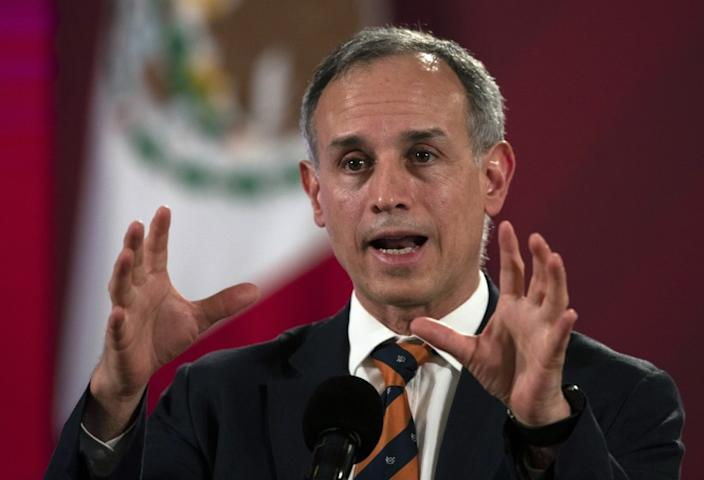 FILE - In this July 13, 2020 file photo, Assistant Health Secretary Hugo Lopez-Gatell speaks during a press conference at the Palacio Nacional in Mexico City. Gatell-Lopez sidestepped calls to resign on Friday, July 31, 2020, after Mexico's COVID-19 death count rose to overtake the United Kingdom as the third-highest in the world. (AP Photo/Marco Ugarte, File)