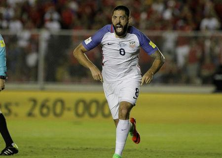 Football Soccer - Panama v USA - World Cup 2018 Qualifiers - Rommel Fernandez stadium, Panama city, 28/3/17. Clint Dempsey of the U.S. celebrates after scoring against Panama. REUTERS/Juan Carlos Ulate