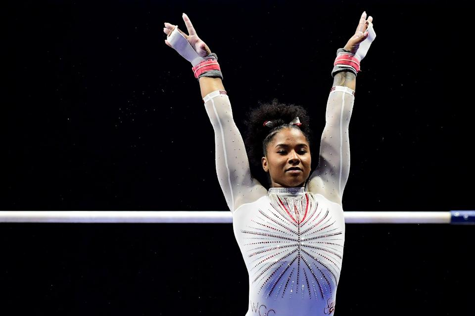 """<p><strong>Sport:</strong> Gymnastics<br> <strong>Country:</strong> USA</p> <p><a href=""""https://www.popsugar.com/fitness/who-is-jordan-chiles-facts-about-elite-gymnast-48361113"""" class=""""link rapid-noclick-resp"""" rel=""""nofollow noopener"""" target=""""_blank"""" data-ylk=""""slk:Jordan Chiles"""">Jordan Chiles</a> has been on a heck of a run recently, and it vaulted her <a href=""""https://www.popsugar.com/fitness/olympic-gymnastics-team-2021-women-48392158"""" class=""""link rapid-noclick-resp"""" rel=""""nofollow noopener"""" target=""""_blank"""" data-ylk=""""slk:right onto the Olympic team"""">right onto the Olympic team</a>. Chiles, 20, came in second overall at this year's GK US Classic behind Simone Biles, grabbed an all-around bronze medal at the US Championships behind Biles and Sunisa Lee, and finished it up with another third-place all-around finish at the Olympic Trials, prompting <a href=""""https://www.popsugar.com/fitness/jordan-chiles-photos-making-2021-olympics-gymnastics-48394975"""" class=""""link rapid-noclick-resp"""" rel=""""nofollow noopener"""" target=""""_blank"""" data-ylk=""""slk:an emotional reaction"""">an emotional reaction</a> we're still tearing up about. Chiles has already gone viral for some of her incredible floor routines (set to music from <strong>Wonder Woman</strong> and Spider-Man!), and we can't wait to see how she does in Tokyo.</p>"""