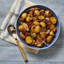 """<p>Creamy potatoes mixed with crispy bacon makes a great side for just about any protein. </p><p><em><a href=""""https://www.goodhousekeeping.com/food-recipes/a34221356/bacon-roasted-potatoes-recipe/"""" rel=""""nofollow noopener"""" target=""""_blank"""" data-ylk=""""slk:Get the recipe for Bacon-Roasted Potatoes >>"""" class=""""link rapid-noclick-resp"""">Get the recipe for Bacon-Roasted Potatoes >></a></em></p>"""