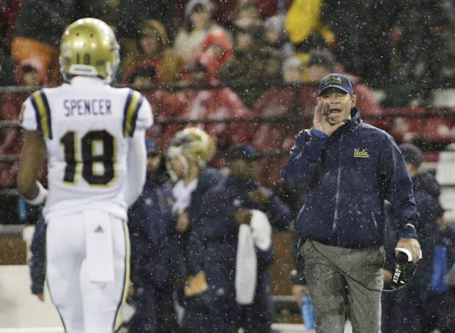 UCLA head coach Jim Mora was yelling early and often on Saturday. (AP)