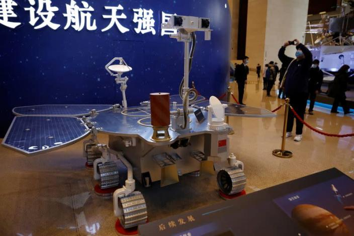 Replica of the Tianwen-1 Mars rover is displayed at exhibition in National Museum in Beijing