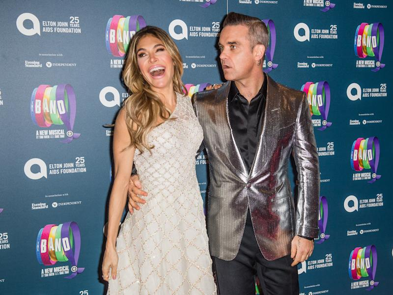 "Ayda Field and Robbie Williams attend a charity gala performance of ""The Band"" in aid of the Elton John AIDS Foundation at Theatre Royal Haymarket on December 04, 2018 in London, England. (Photo by Samir Hussein/WireImage)"
