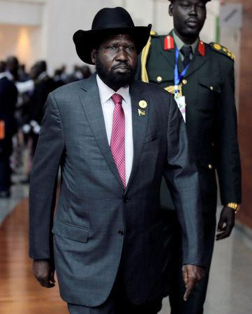 FILE PHOTO: South Sudan's President Salva Kiir Mayardit arrives for the 30th Ordinary Session of the Assembly of the Heads of State and the Government of the African Union in Addis Ababa