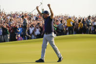 Phil Mickelson celebrates after winning the final round at the PGA Championship golf tournament on the Ocean Course, Sunday, May 23, 2021, in Kiawah Island, S.C. (AP Photo/David J. Phillip)