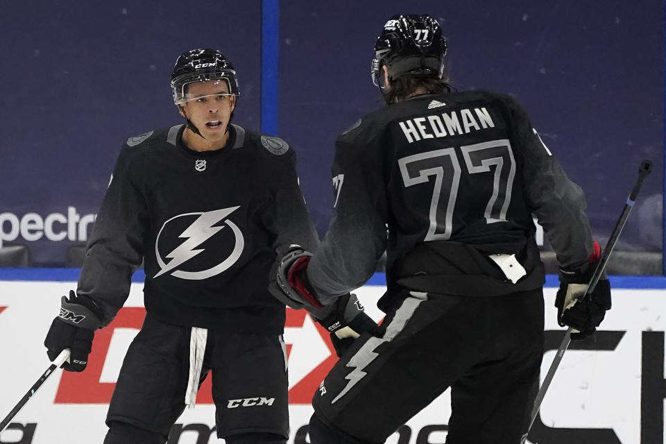 Tampa Bay Lightning right wing Mathieu Joseph (7) celebrates his goal against the Florida Panthers with defenseman Victor Hedman (77) during the third period of an NHL hockey game Saturday, April 17, 2021, in Tampa, Fla. (AP Photo/Chris O'Meara)