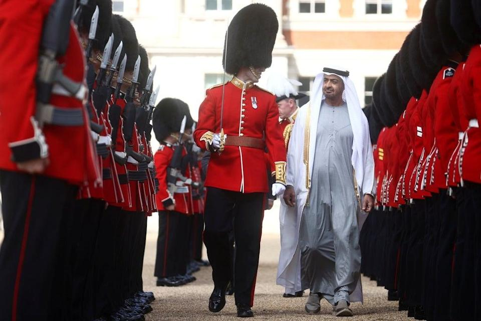 Sheikh Mohammed bin Zayed Al Nahyan, Crown Prince of the Emirate of Abu Dhabi, inspects a Guard of Honour in central London (Hannah McKay/PA) (PA Wire)