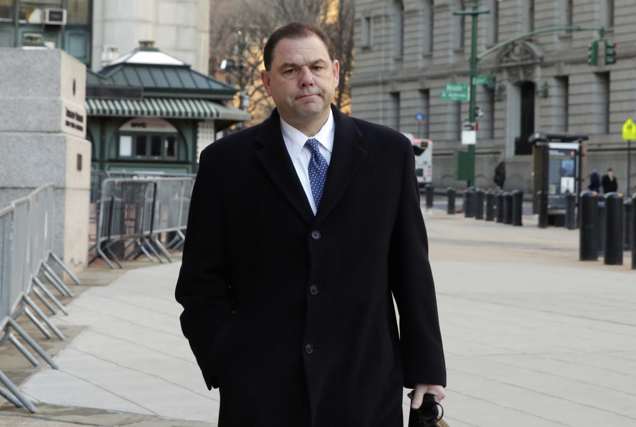 FILE - In this Jan. 25, 2018, file photo, Joseph Percoco arrives at Federal Court, in New York. Jurors in the bribery trial of Percoco, a former top aide to Democratic New York Gov. Andrew Cuomo, may begin deliberations as early as next week. The government rested its case Thursday, Feb. 22, in federal court in Manhattan against Joseph Percoco and three businessmen. (AP Photo/Richard Drew, File)